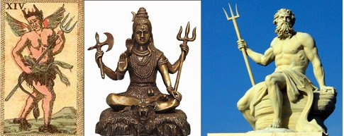 Tridents: Satan, Shiva and Poseidon