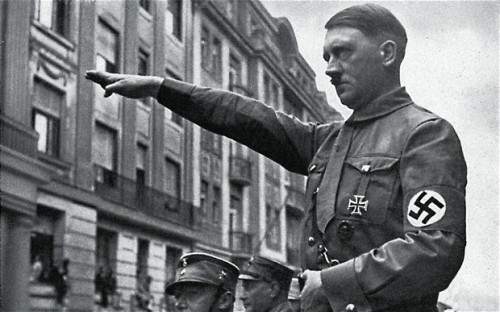 In World War II, the salute too much resembled the Nazi salute, so it was changed to keep the right hand over the heart throughout.