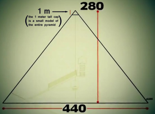 One (1) Meter-Tall Pyramid Cap is a Miniature of the Whole Pyramid