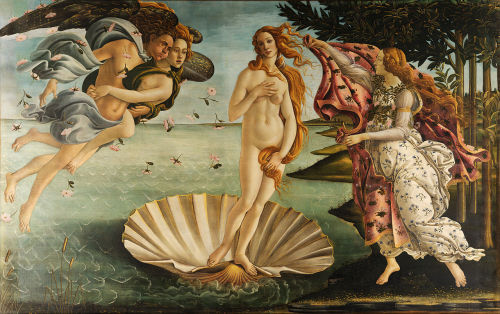 Italian artist, Sandro Botticelli's painting, The Birth of Venus; emerging from the Bivalve?