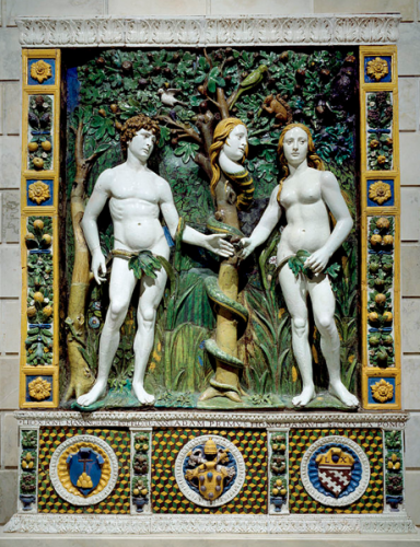 Workshop of Giovanni della Robbia, Adam and Eve; the serpent has Eve's face!