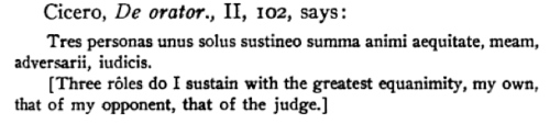 Cicero Tres Personas: My own, my opponent and the judge.