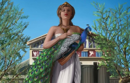 Hera with her Peacock, named after Argos Panoptes