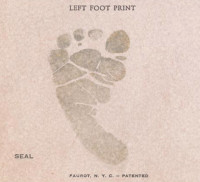Baby's Left Foot Print on Birth Certificate, Seal and Patent