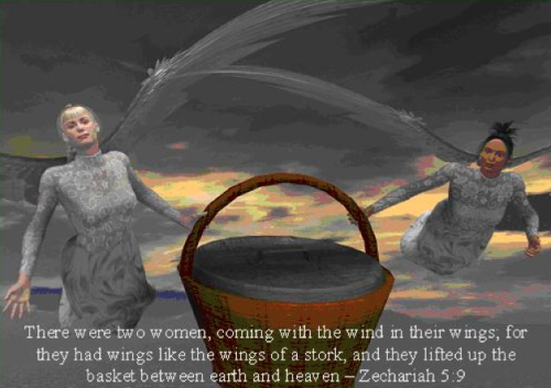 Zech 5:9 Two Women with the Ephah: wings like the wings of a stork.