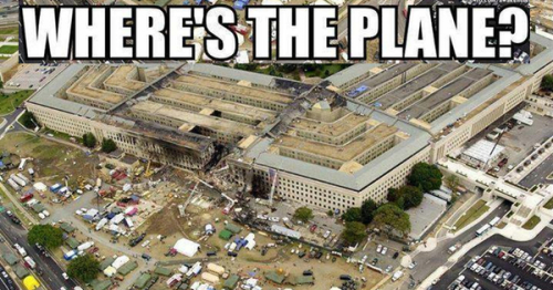 Where is the plane that allegedly struck the Pentagon in this picture?