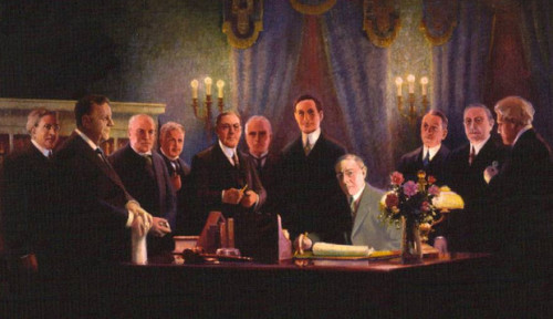 President Woodrow Wilson Meets with Duck-Hunting Fed Banksters