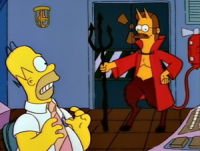 The Surety Donut: Flanders as the Devil with Homer Simpson