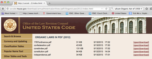 Organic Laws Listed at Office of the Law Revision Council, US Code Website