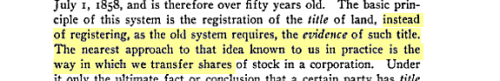 Torrens Title System: Registering the Name Similar to Transferring Shares of Stock