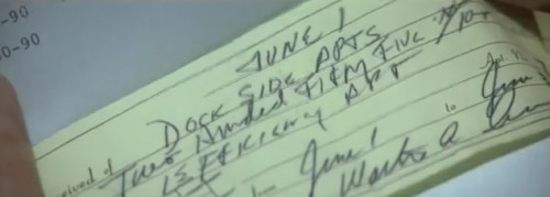 "Admiralty Law Revealed, Cape Fear (1999): Receipt, Payment Made by ""Dock Side"" Apartments. ""His mother died while he was serving and the farm got sold off. He got the proceeds."""