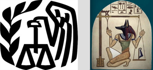 IRS Logo (left) and Egyptian God Thoth with Scales (Right)