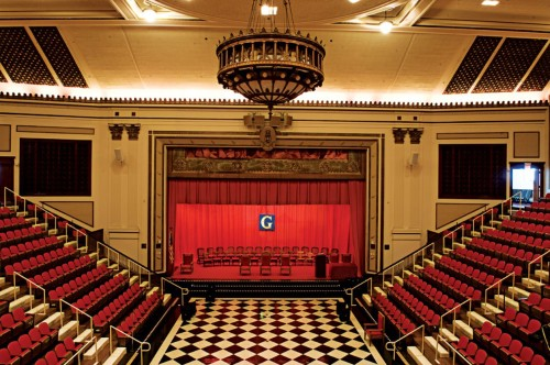 Masonic Lodge in Nashville Tennessee Features a Stage, Red and Black, and Checkerboard