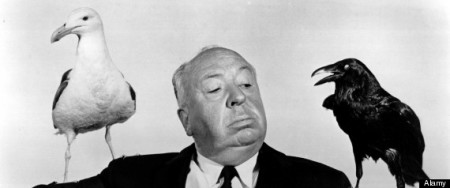 Alfred Hitchcock, The Birds (1963): White Seagull on His Right, Black Crow on His Left.