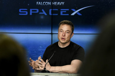 Feb 6, 2018 Kennedy Space Center, FL, USA; Elon Musk CEO of SpaceX, speaks to the media during a press conference after the Falcon Heavy Launch. Mandatory Credit: Craig Bailey/Florida Today via USA TODAY NETWORK/Sipa USA